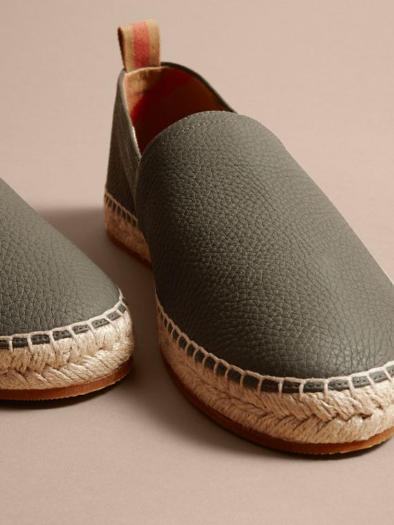 Check Detail Leather Espadrilles Khaki