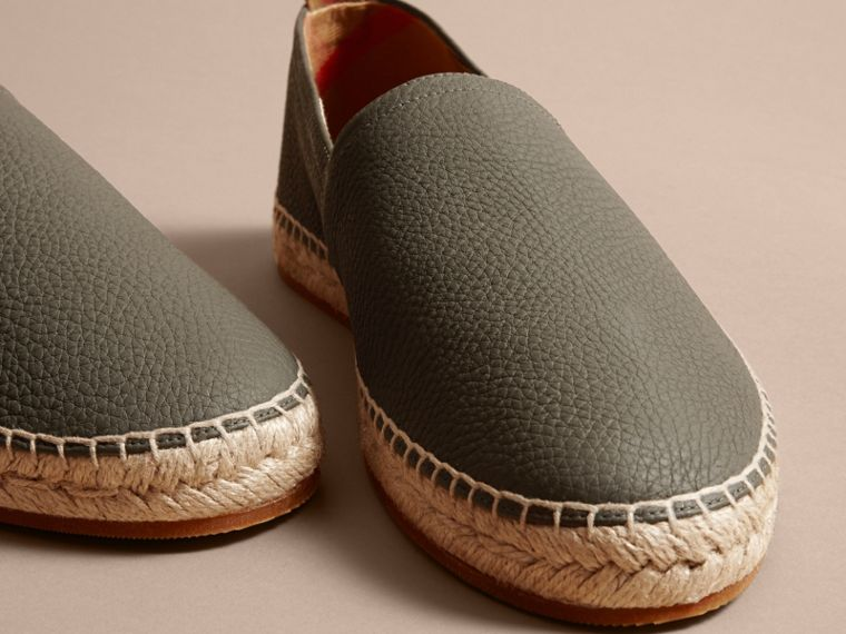 Check Detail Leather Espadrilles Khaki - cell image 1