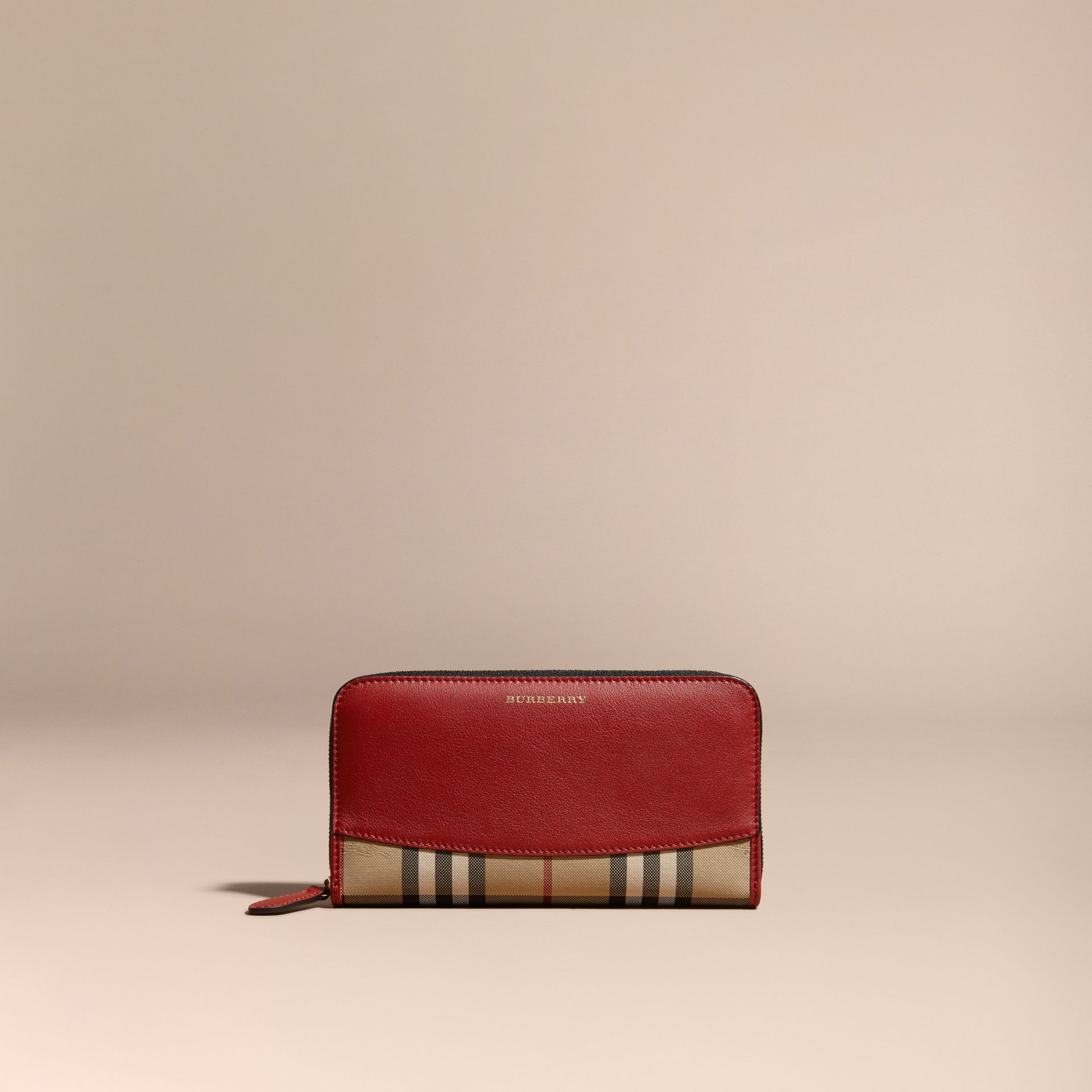 Horseferry Check and Leather Ziparound Wallet in Parade Red - Women | Burberry Canada - gallery image 6