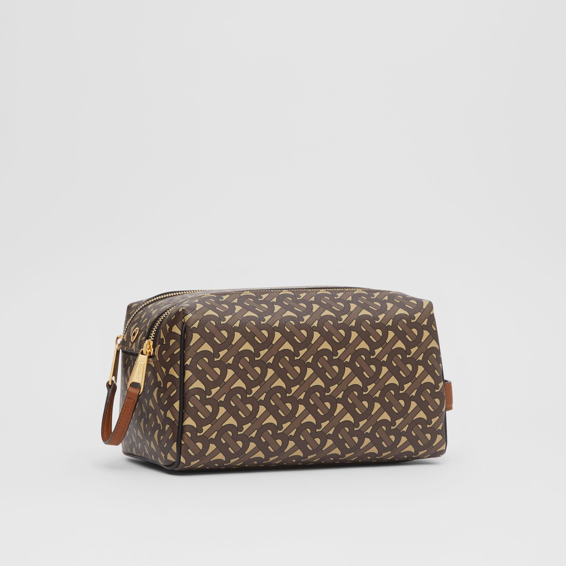 Monogram Print E-canvas Travel Pouch in Bridle Brown | Burberry - gallery image 7