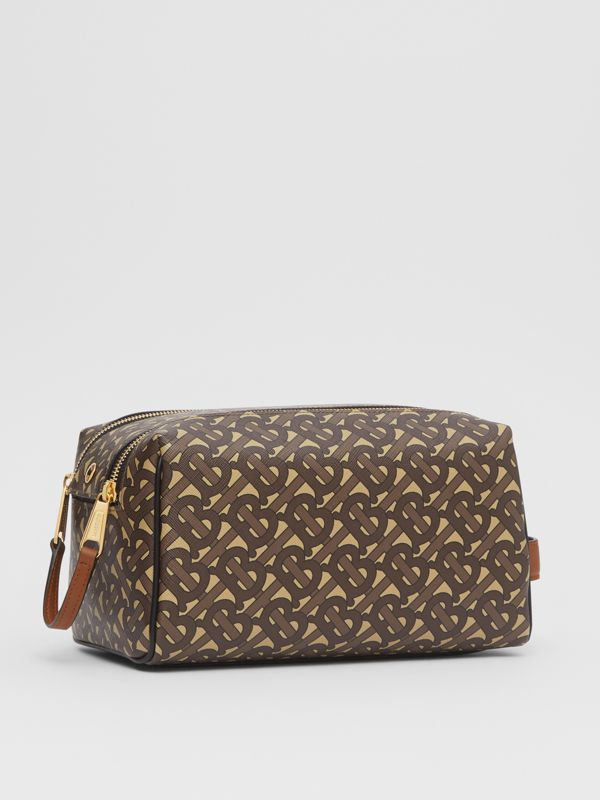 Monogram Print E-canvas Travel Pouch in Bridle Brown | Burberry United Kingdom - cell image 3