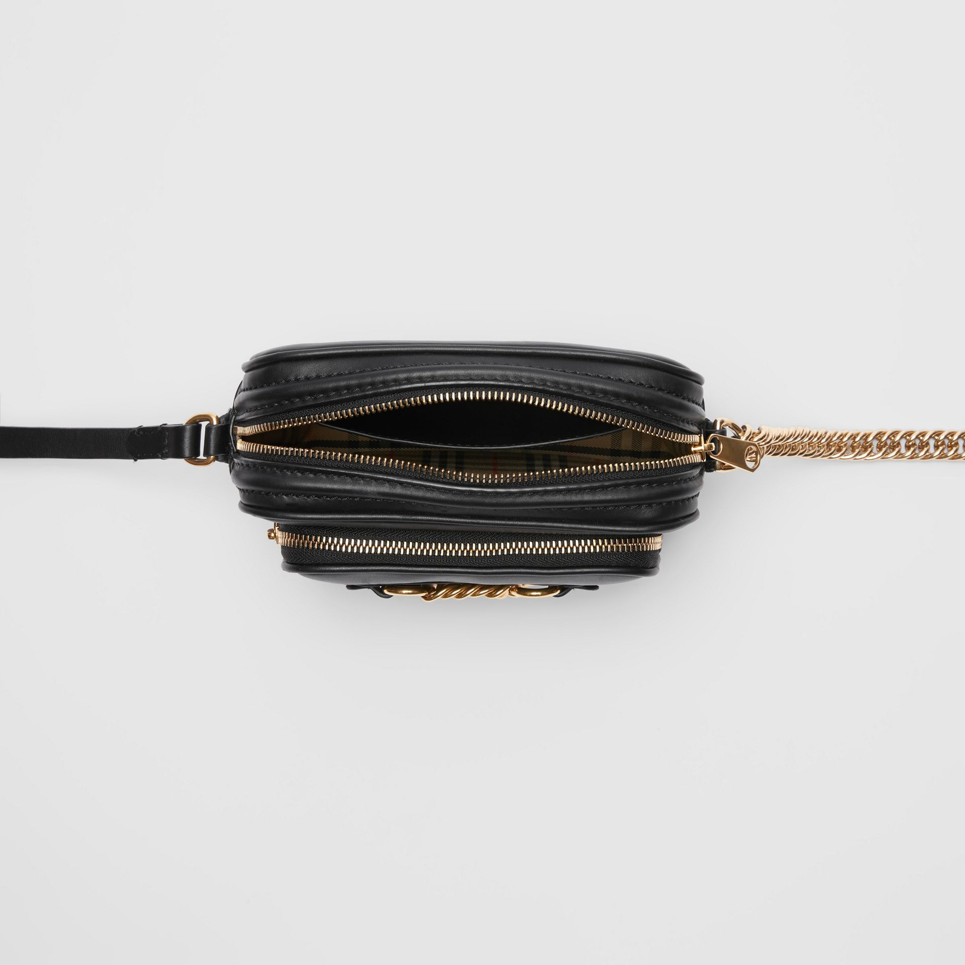 Leather Link Camera Bag in Black - Women | Burberry - gallery image 4