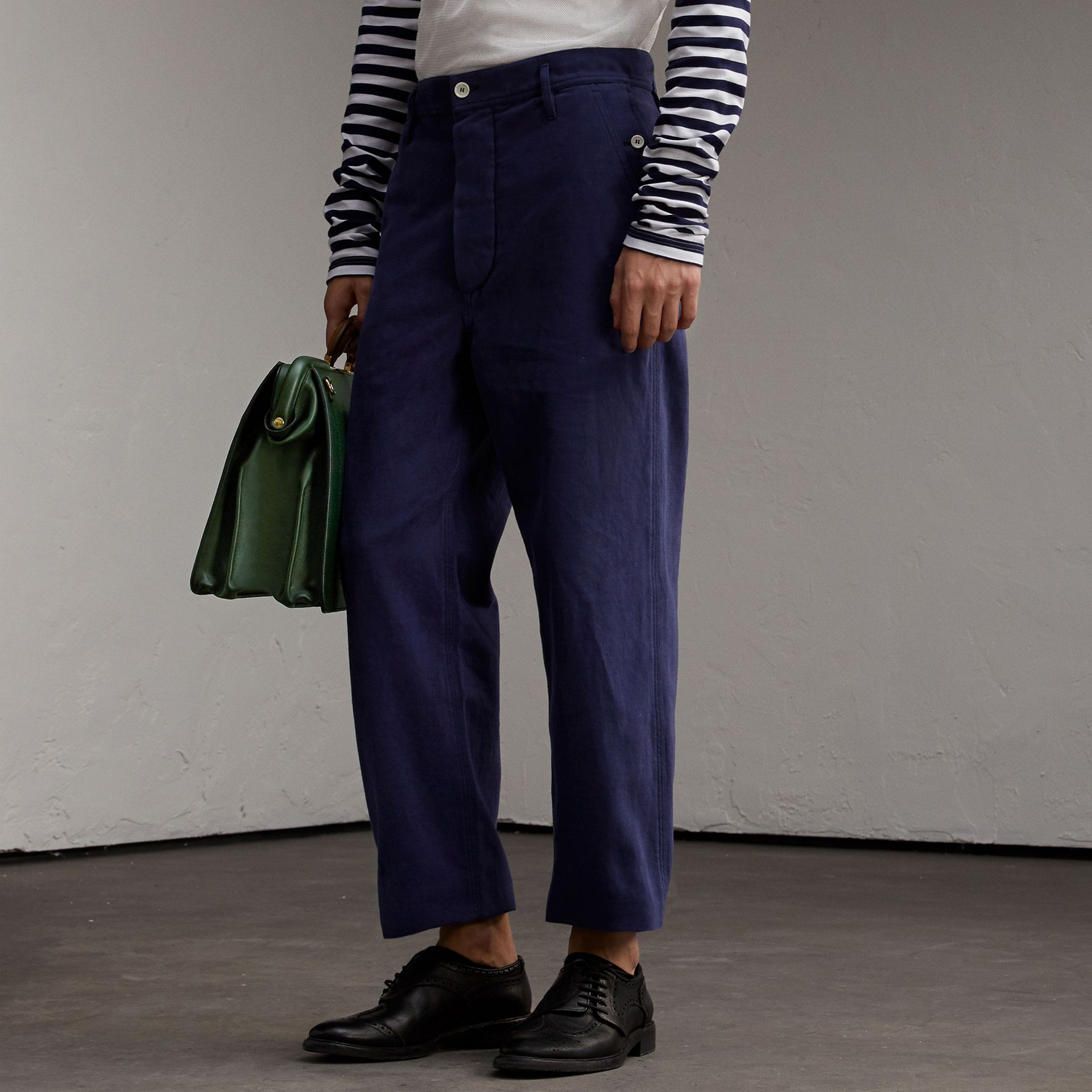 Cotton Cropped Artist Trousers - gallery image 1