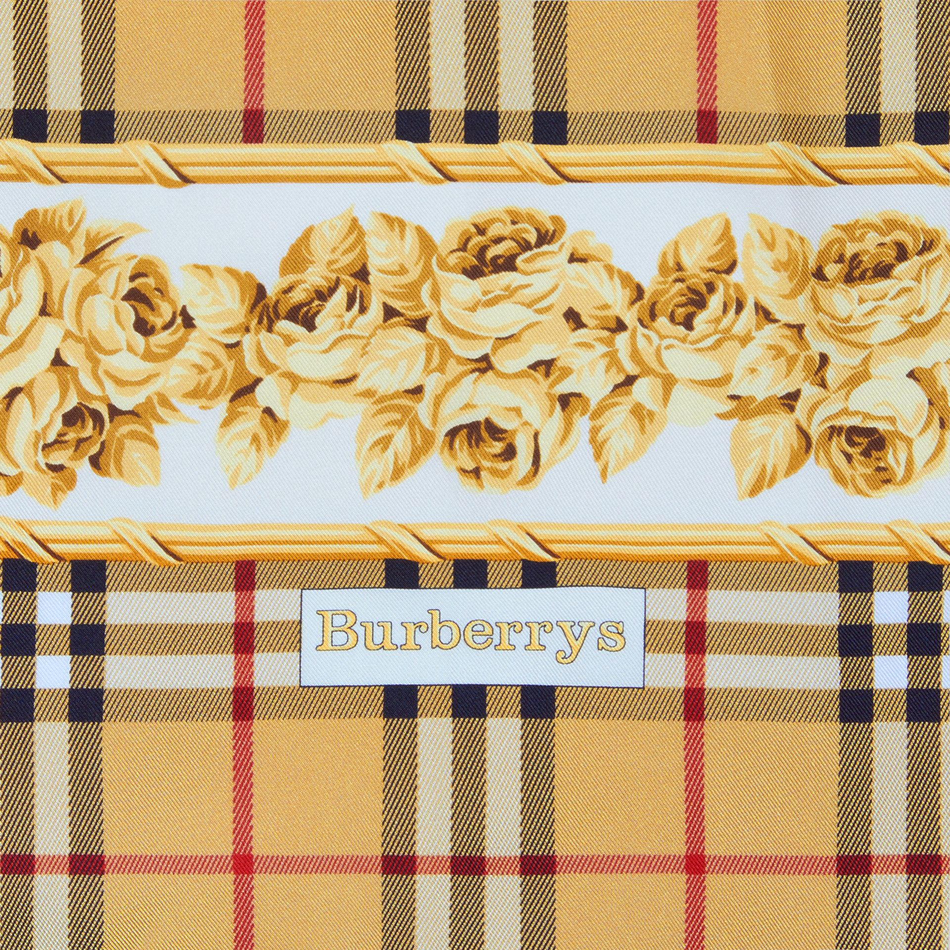 Archive Scarf Print Silk Square Scarf in Antique Yellow - Women | Burberry - gallery image 1