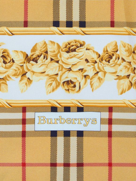 Archive Scarf Print Silk Square Scarf in Antique Yellow - Women | Burberry - cell image 1