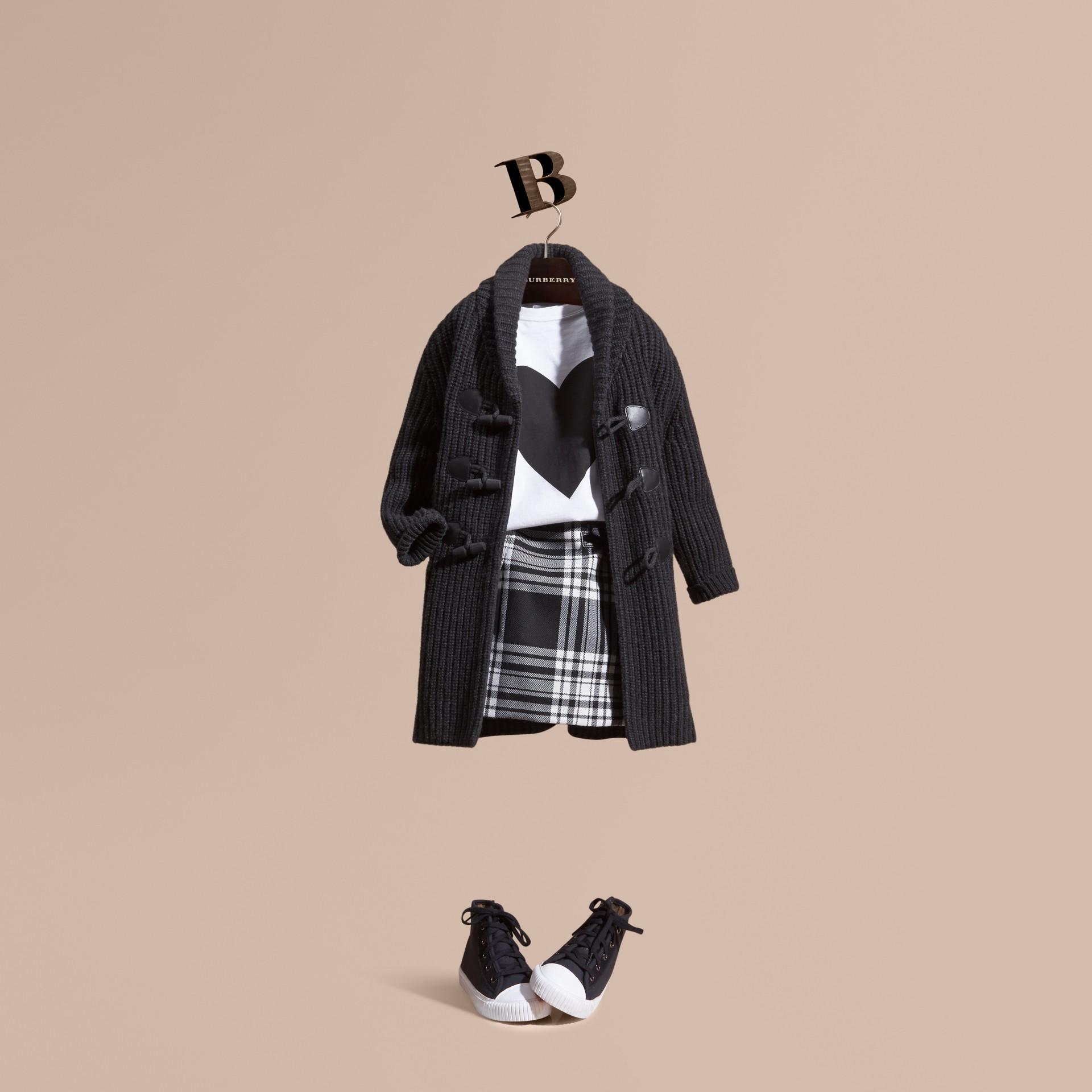Camaïeu anthracite Cardigan en laine et cachemire avec boutons-olives - photo de la galerie 1