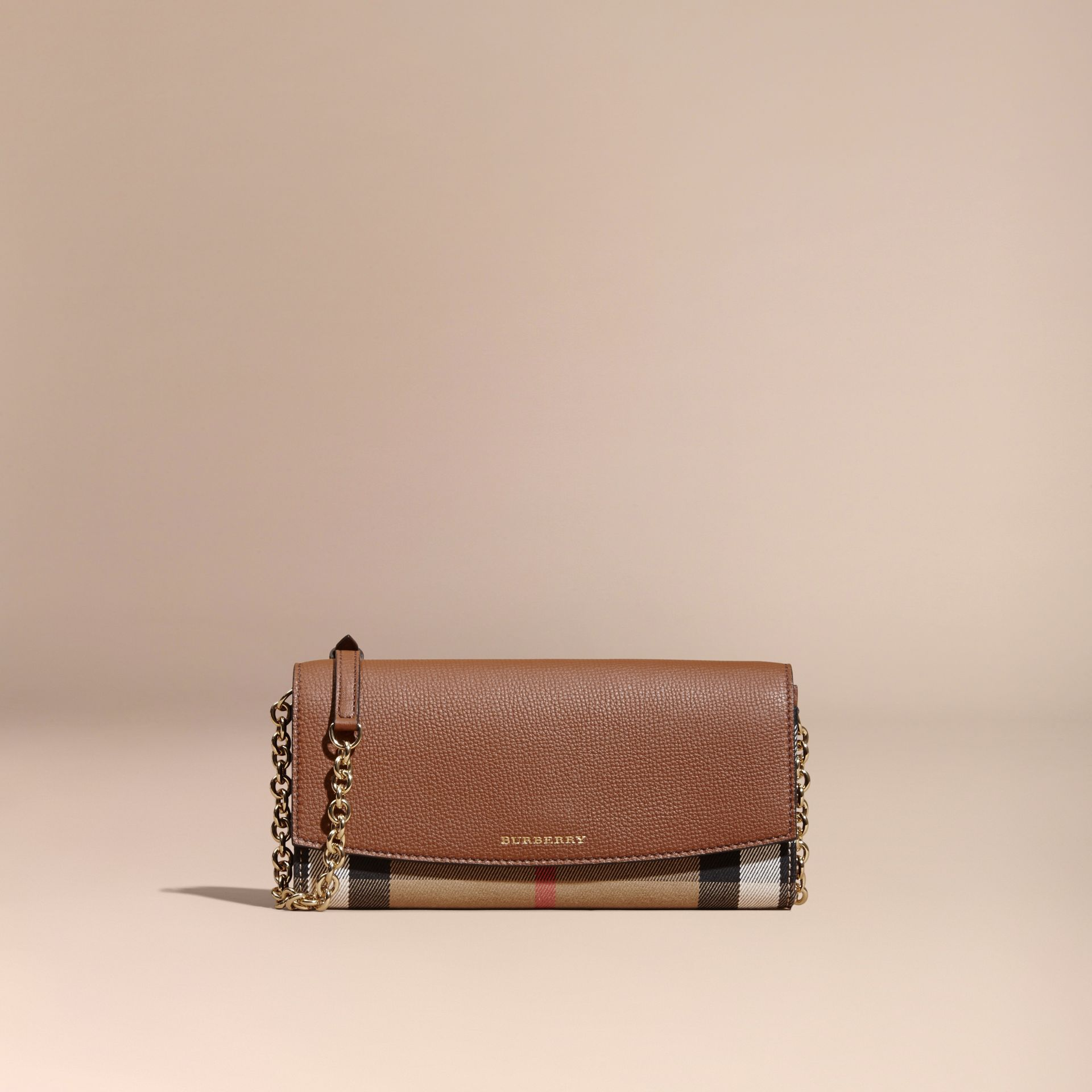 House Check and Leather Wallet with Chain in Tan - Women | Burberry - gallery image 8