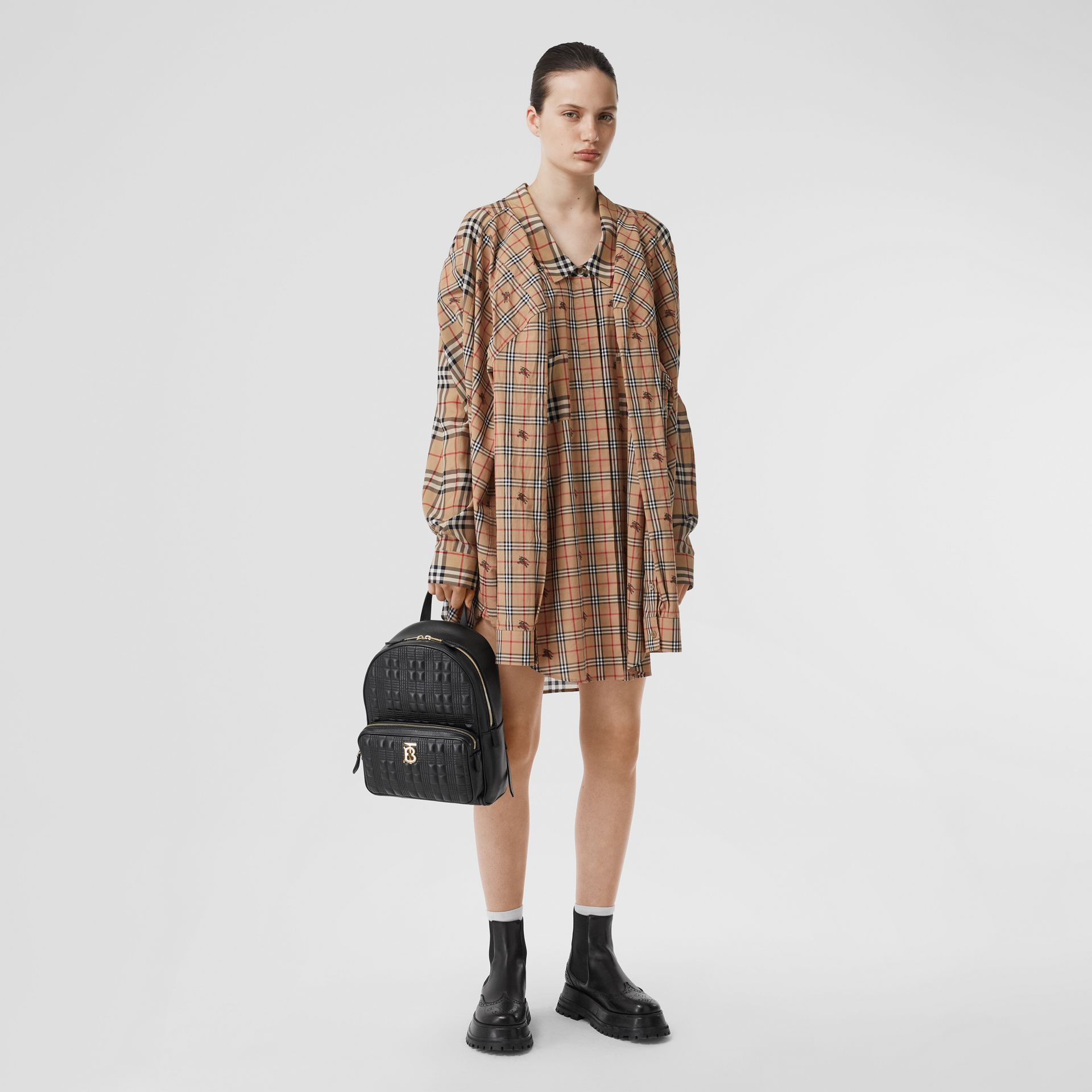Quilted Check Lambskin Backpack in Black - Women | Burberry United Kingdom - gallery image 5