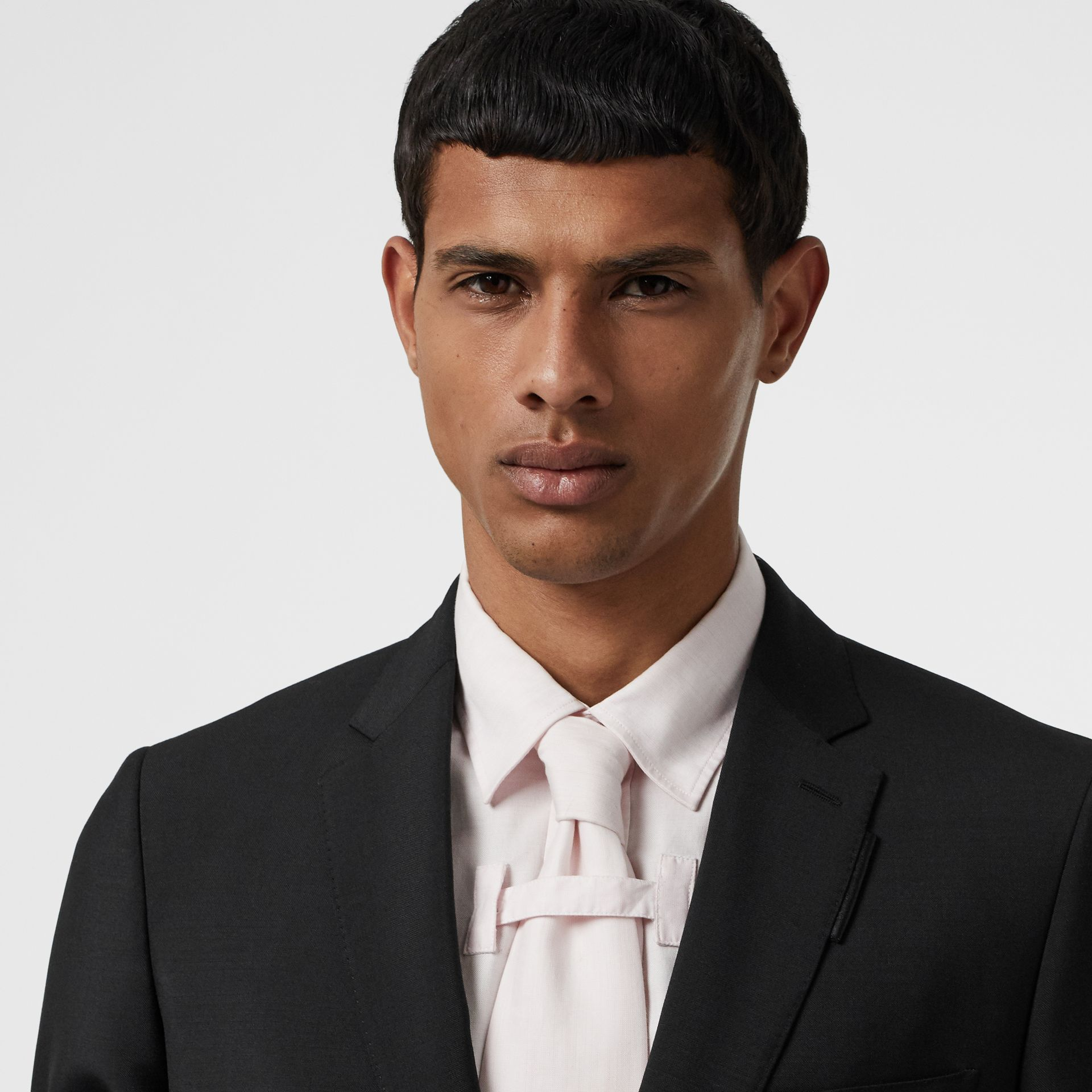 Slim Fit Wool Mohair Suit in Black - Men | Burberry Canada - gallery image 1