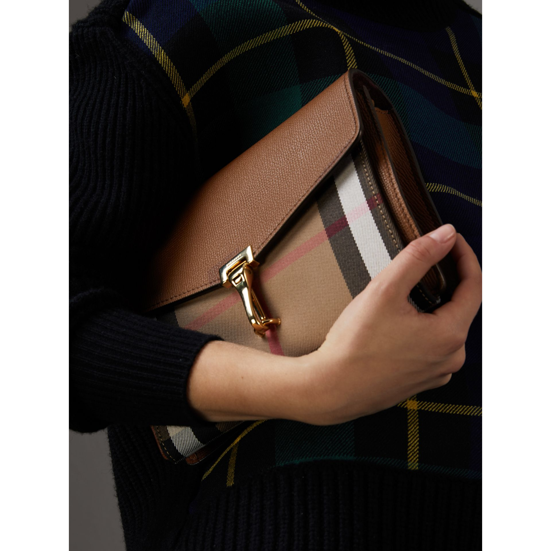 Small Leather and House Check Crossbody Bag in Tan - Women | Burberry Hong Kong - gallery image 3