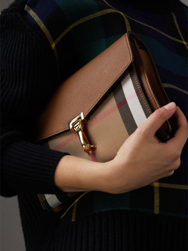 Small Leather and House Check Crossbody Bag in Tan - Women | Burberry Hong Kong - cell image 3