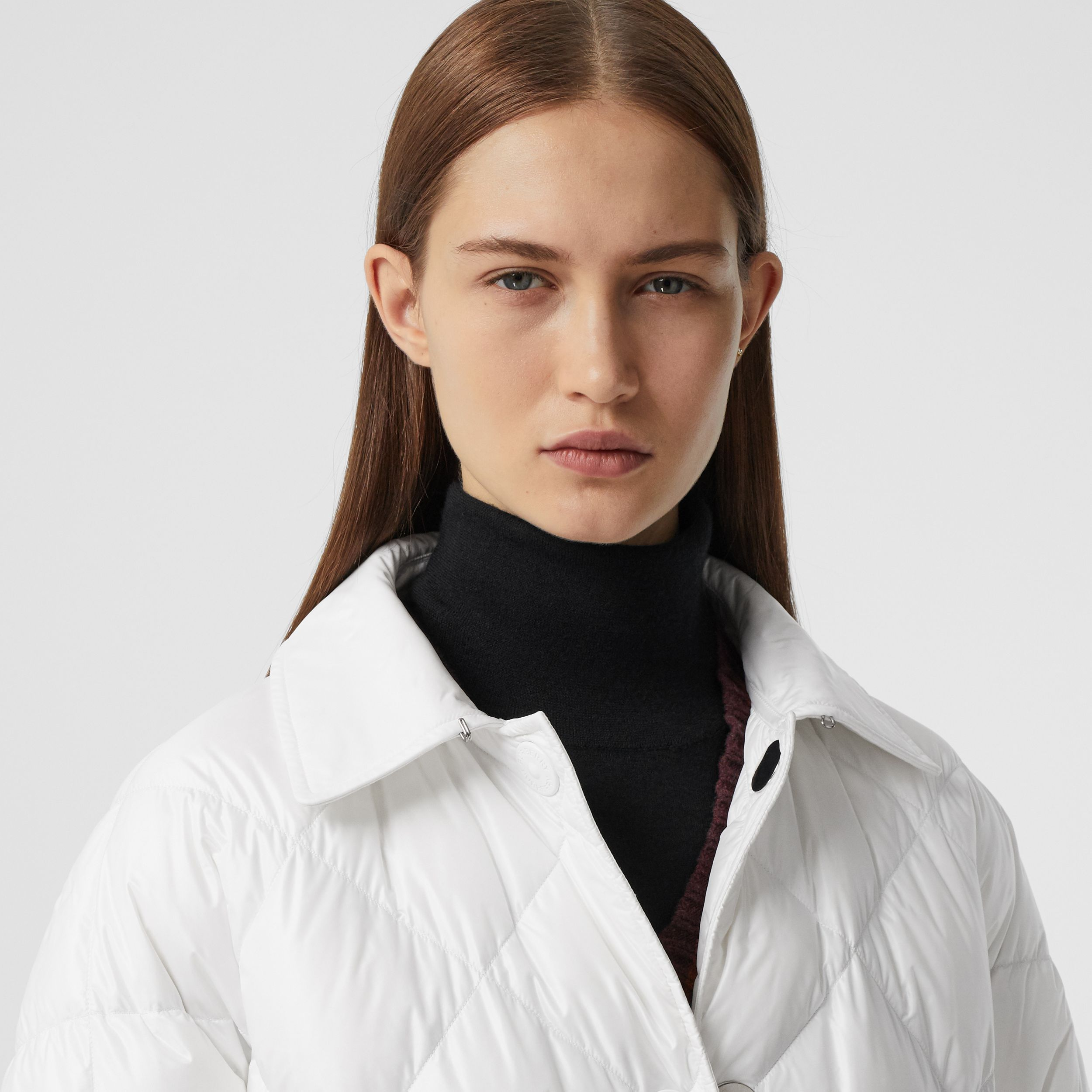 Logo Appliqué Down-filled Belted Coat in Optic White - Women | Burberry - 2