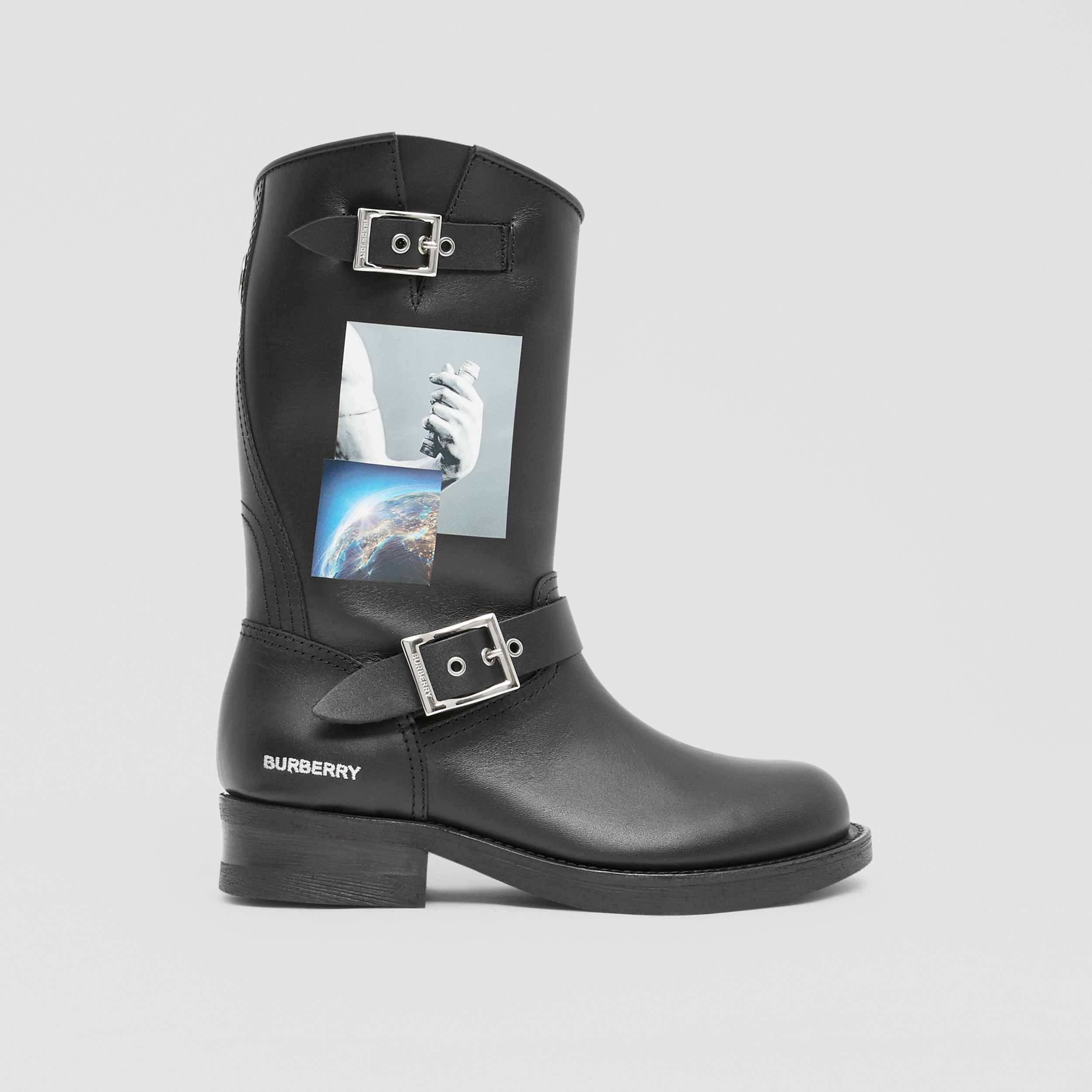 Montage Print Leather Biker Boots in Black - Women | Burberry - 4