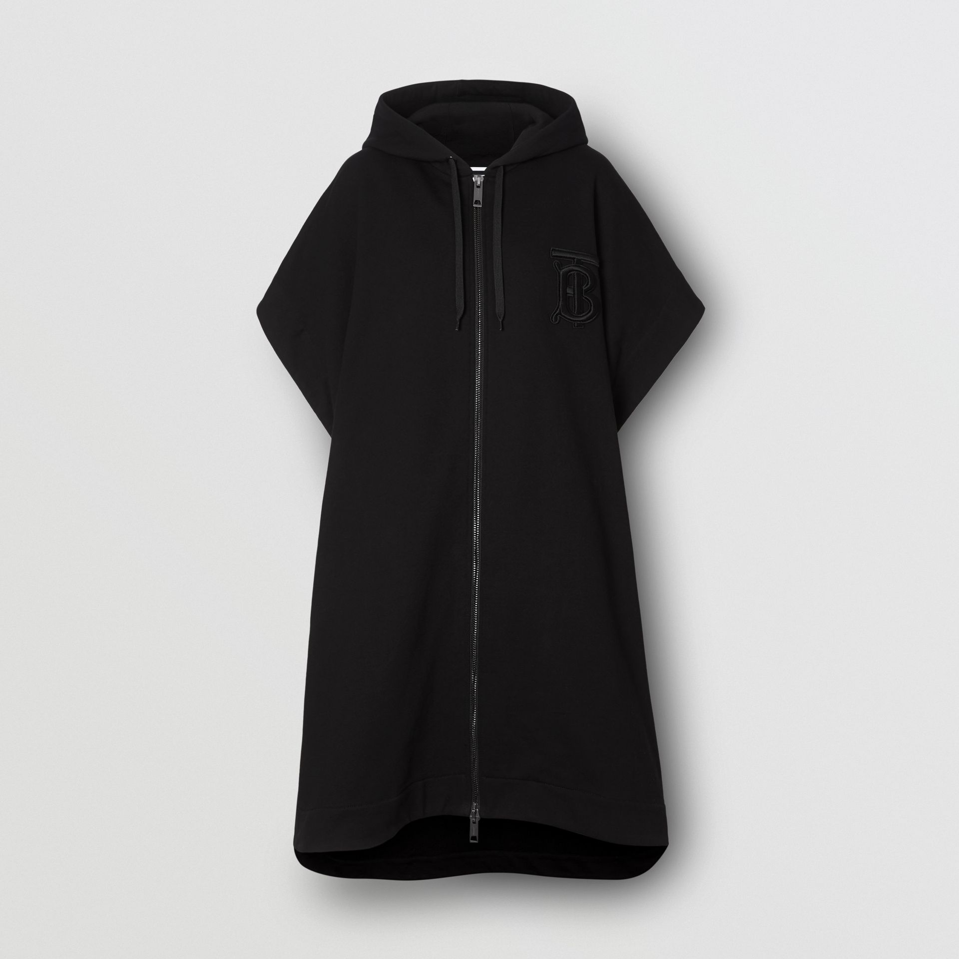 Monogram Motif Cotton Oversized Hooded Poncho in Black | Burberry - gallery image 3
