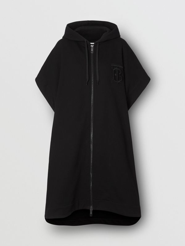 Monogram Motif Cotton Oversized Hooded Poncho in Black | Burberry - cell image 3