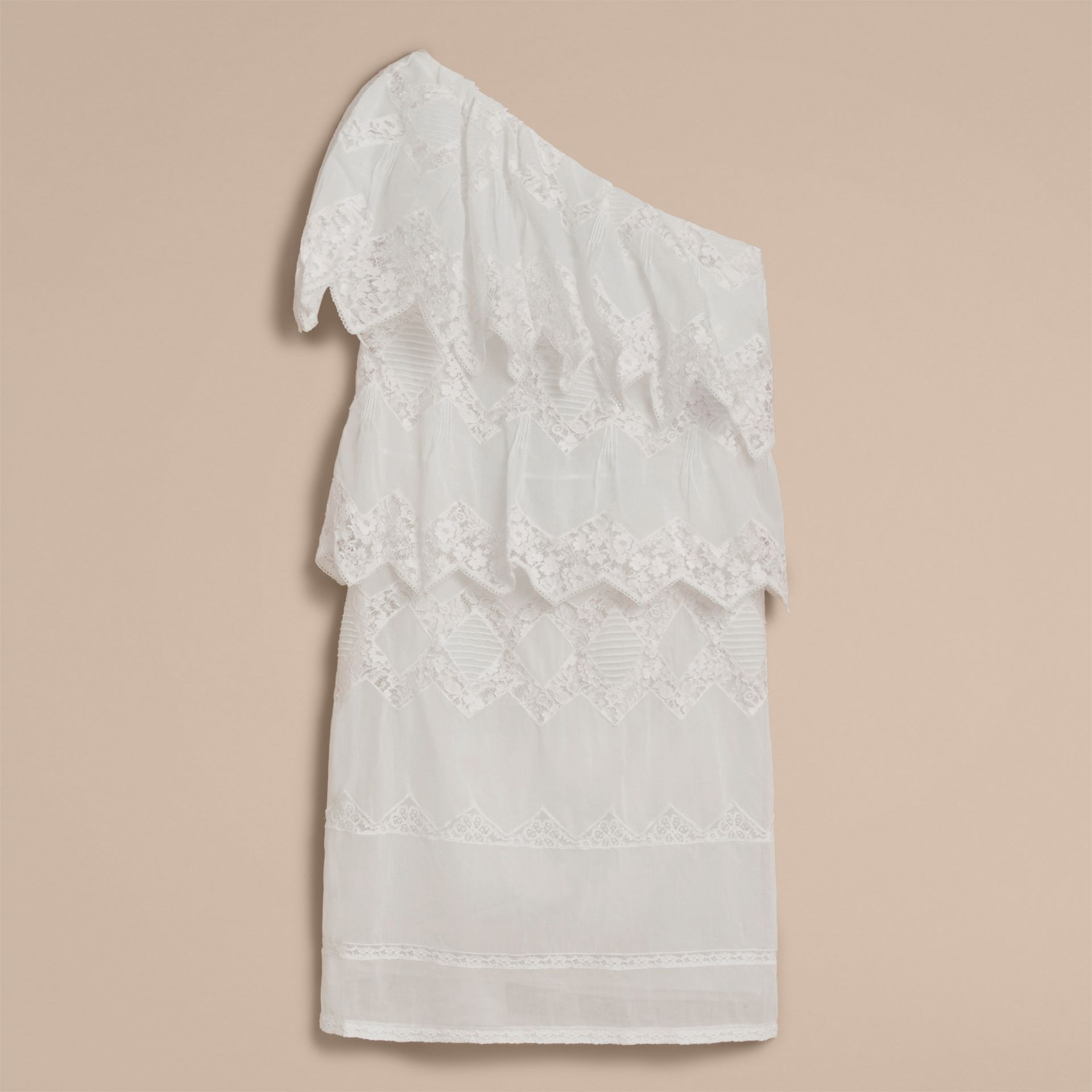 One-shoulder Cotton Voile and Lace Dress in White - Women | Burberry - gallery image 3