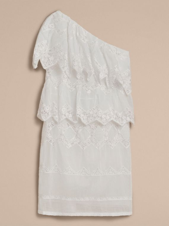 One-shoulder Cotton Voile and Lace Dress in White - Women | Burberry - cell image 3