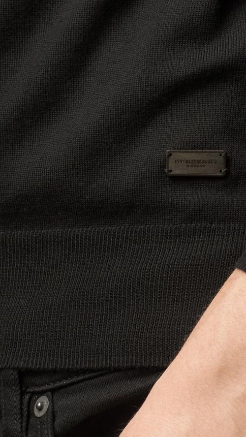 Black Crew Neck Merino Wool Sweater Black - Image 2