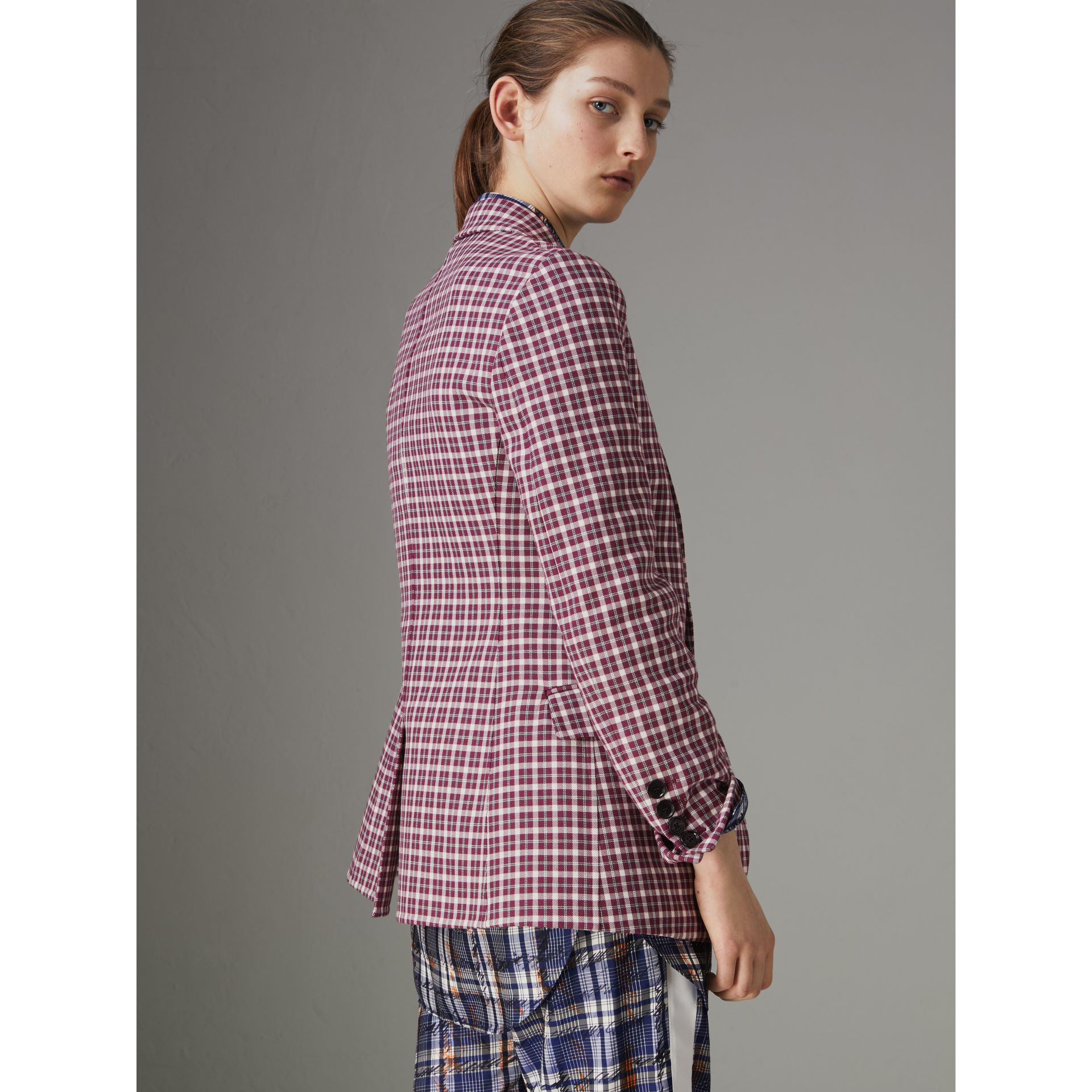 Check Cotton Tailored Jacket in Burgundy - Women | Burberry Singapore - gallery image 2