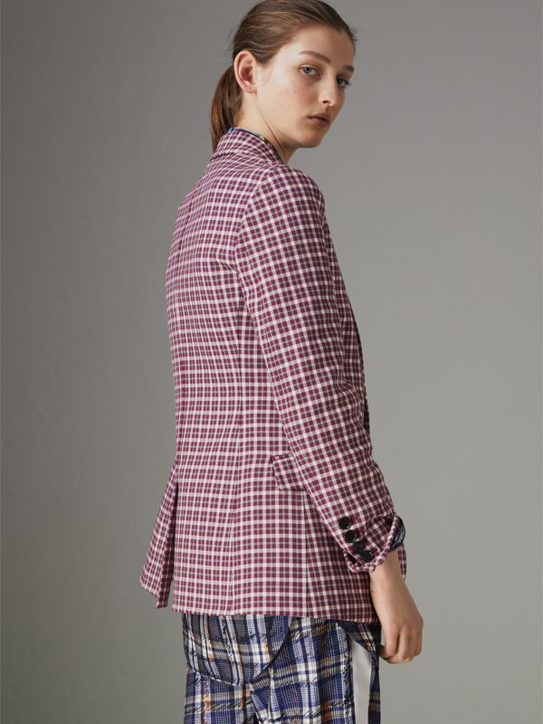 Check Cotton Tailored Jacket in Burgundy - Women | Burberry Singapore - cell image 2