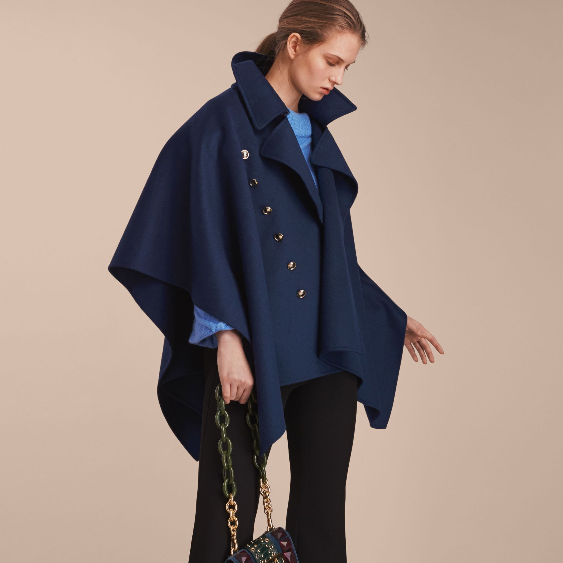 Military Button Wool Cashmere Blend Cape in Navy - gallery image 6