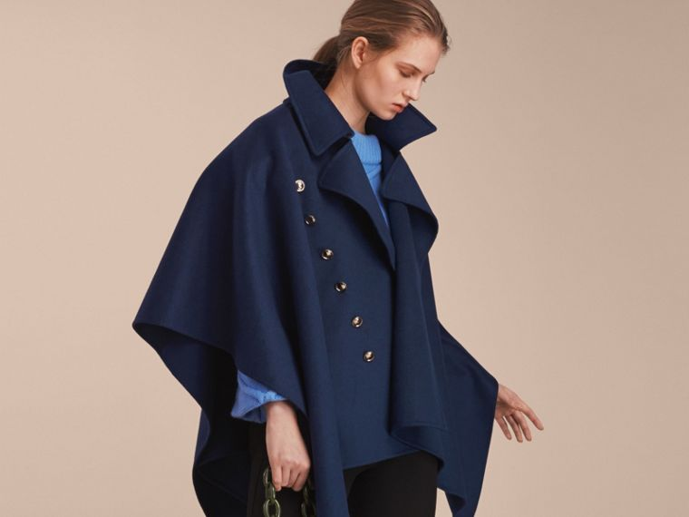 Navy Military Button Wool Cashmere Blend Cape Navy - cell image 4