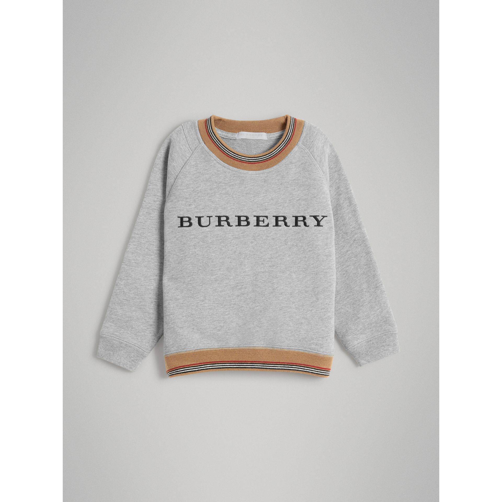 Heritage Stripe Detail Embroidered Cotton Sweatshirt in Grey Melange | Burberry Singapore - gallery image 0