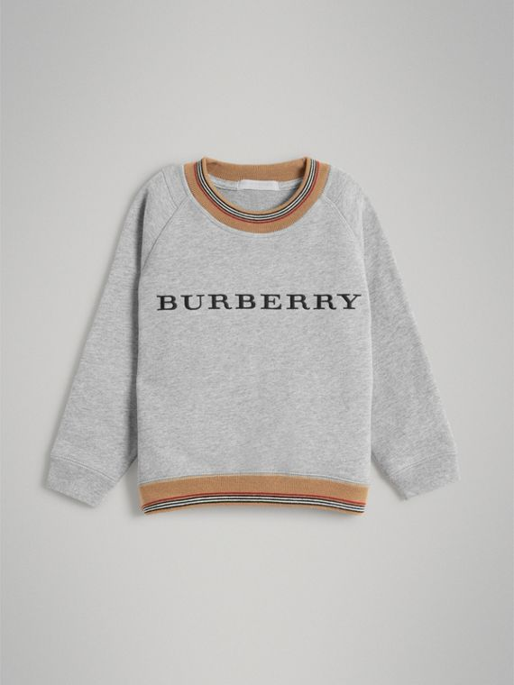 Heritage Stripe Detail Embroidered Cotton Sweatshirt in Grey Melange