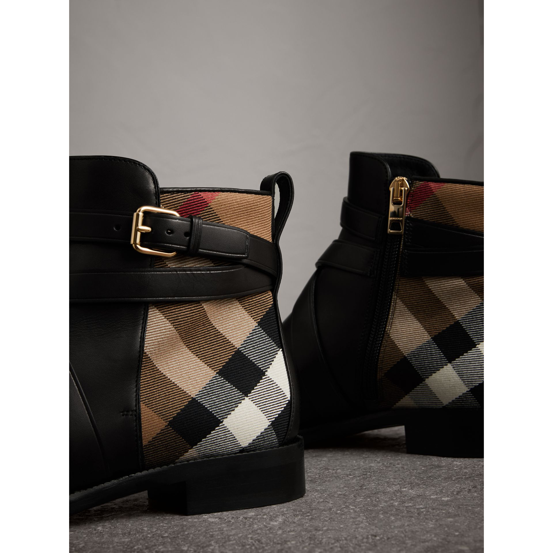 Strap Detail House Check and Leather Ankle Boots in Black - Women | Burberry United States - gallery image 1
