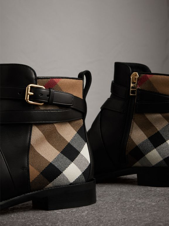Strap Detail House Check and Leather Ankle Boots in Black - Women | Burberry - cell image 1