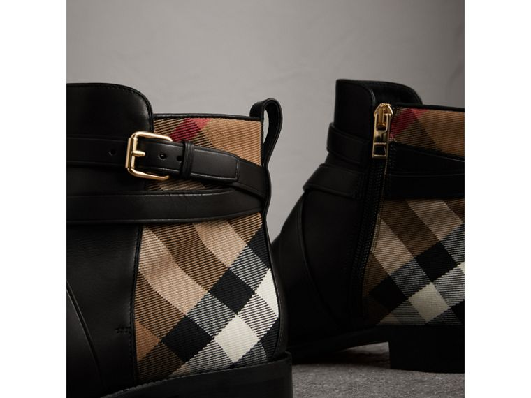 Strap Detail House Check and Leather Ankle Boots in Black - Women | Burberry United States - cell image 1