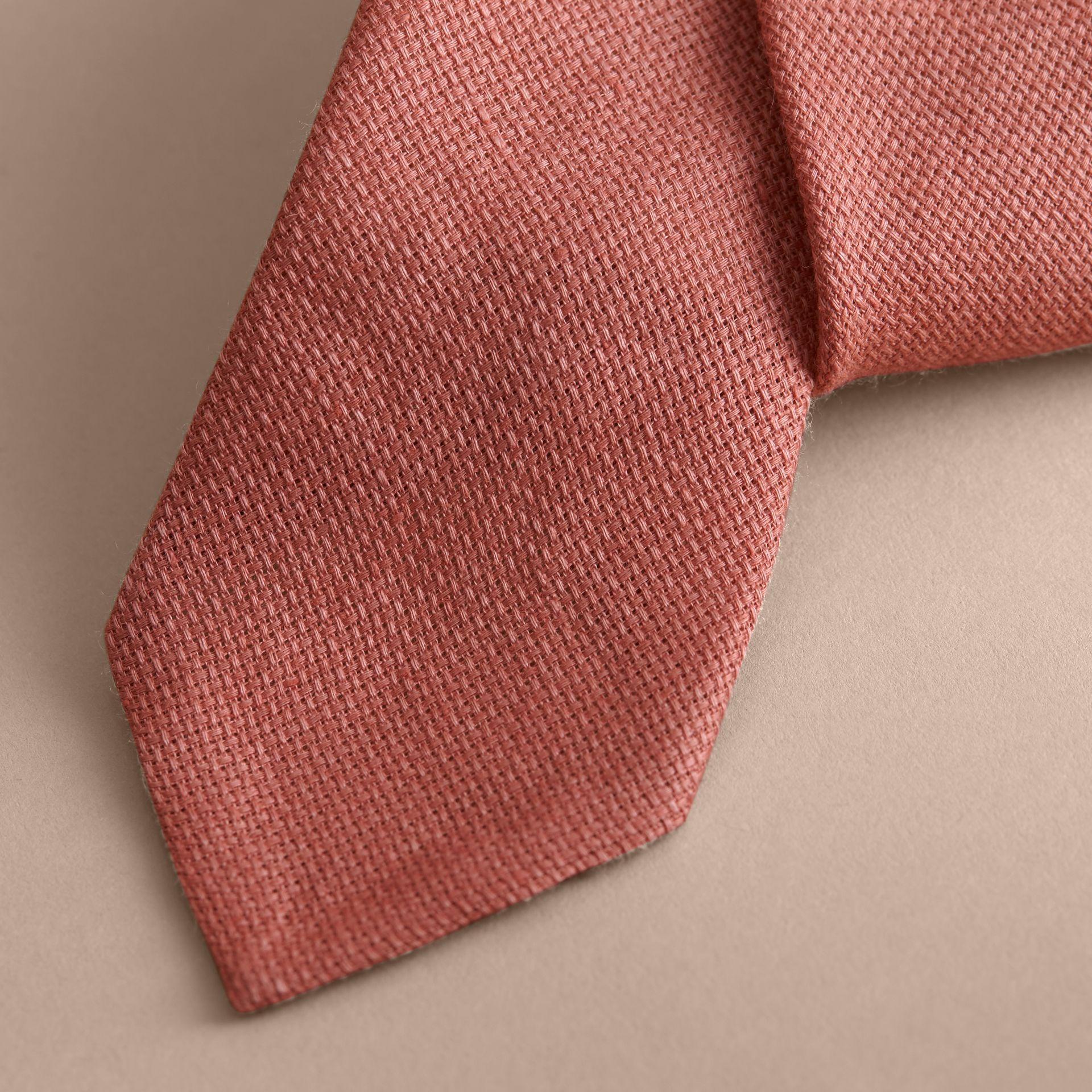 Modern Cut Linen Tie in Pale Cinnamon - Men | Burberry - gallery image 2