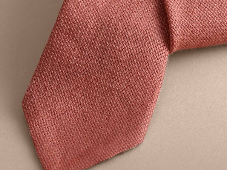 Modern Cut Linen Tie in Pale Cinnamon - Men | Burberry - cell image 1