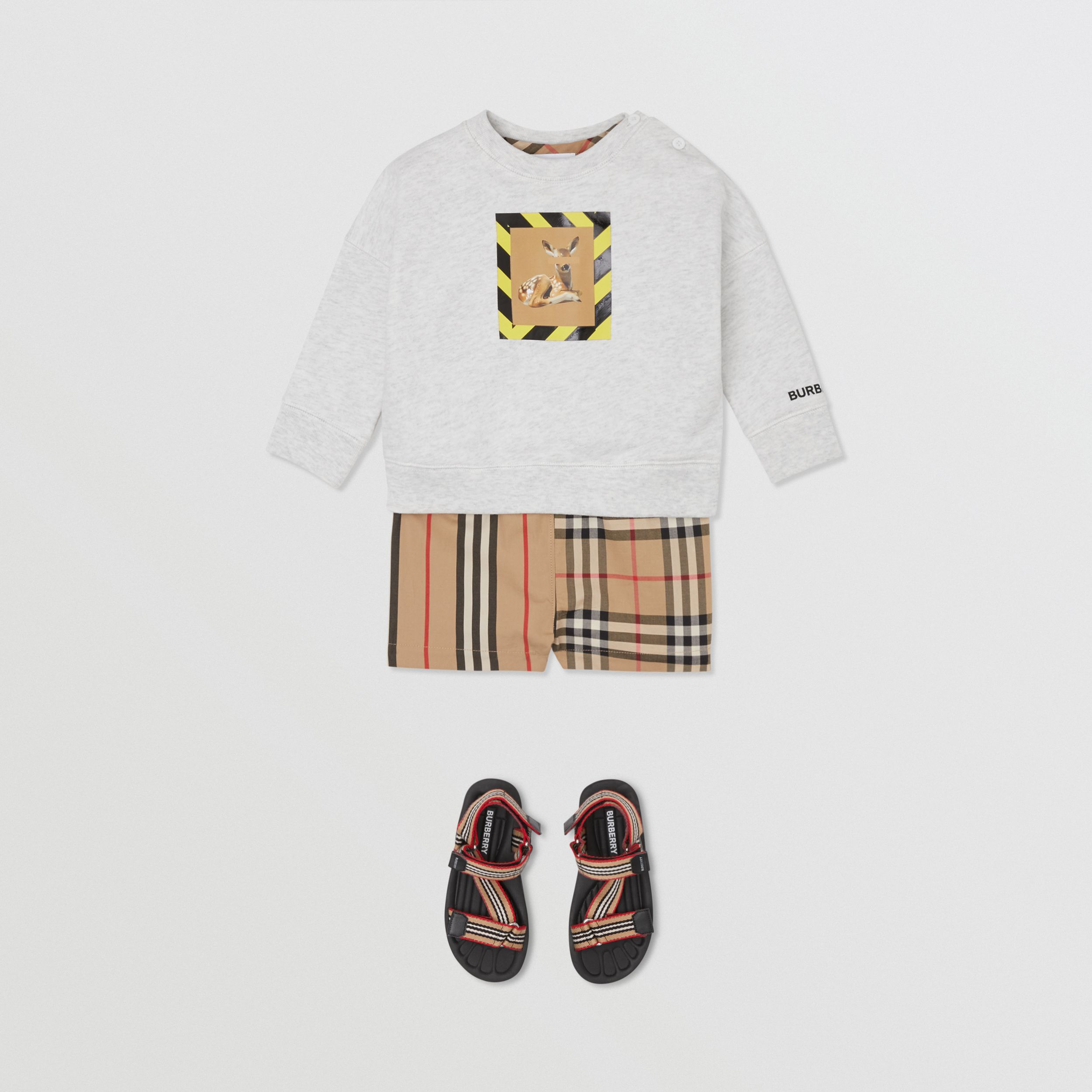 Deer Print Cotton Sweatshirt in White Melange - Children | Burberry - 3