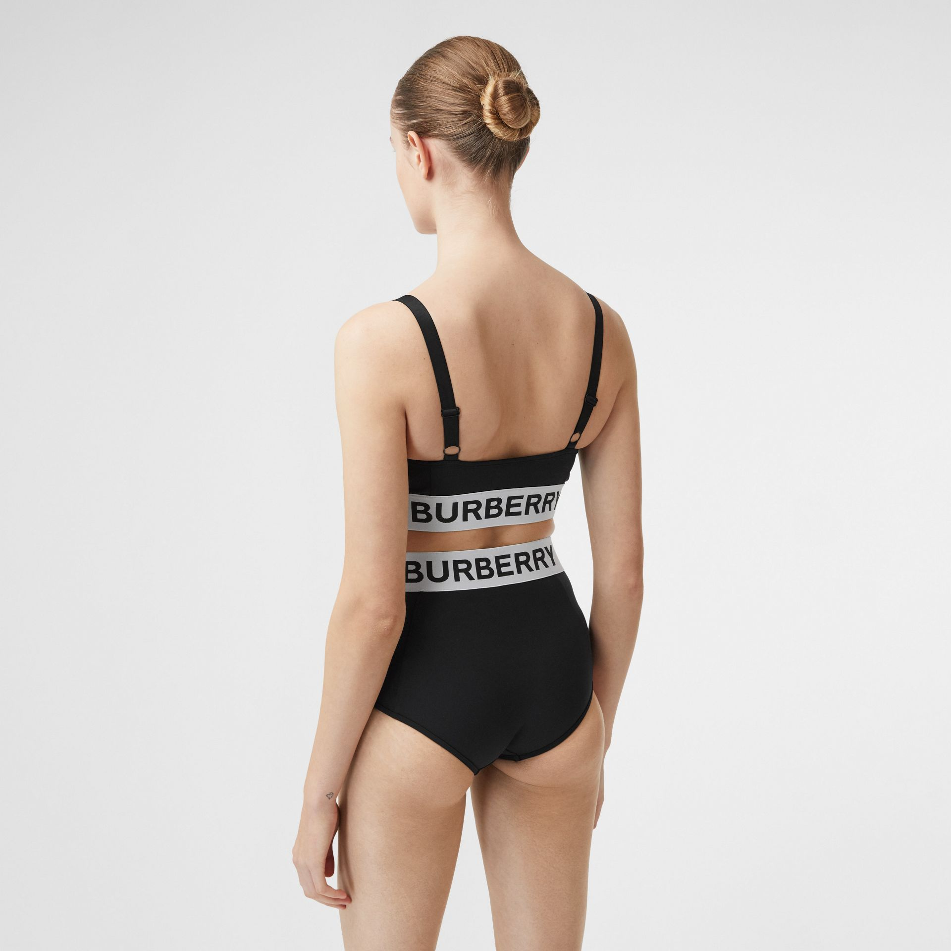 Logo Tape Bikini Top in Black - Women   Burberry Hong Kong S.A.R - gallery image 1