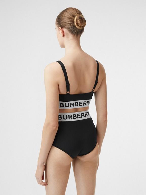 Logo Tape Bikini Top in Black - Women   Burberry Hong Kong S.A.R - cell image 1