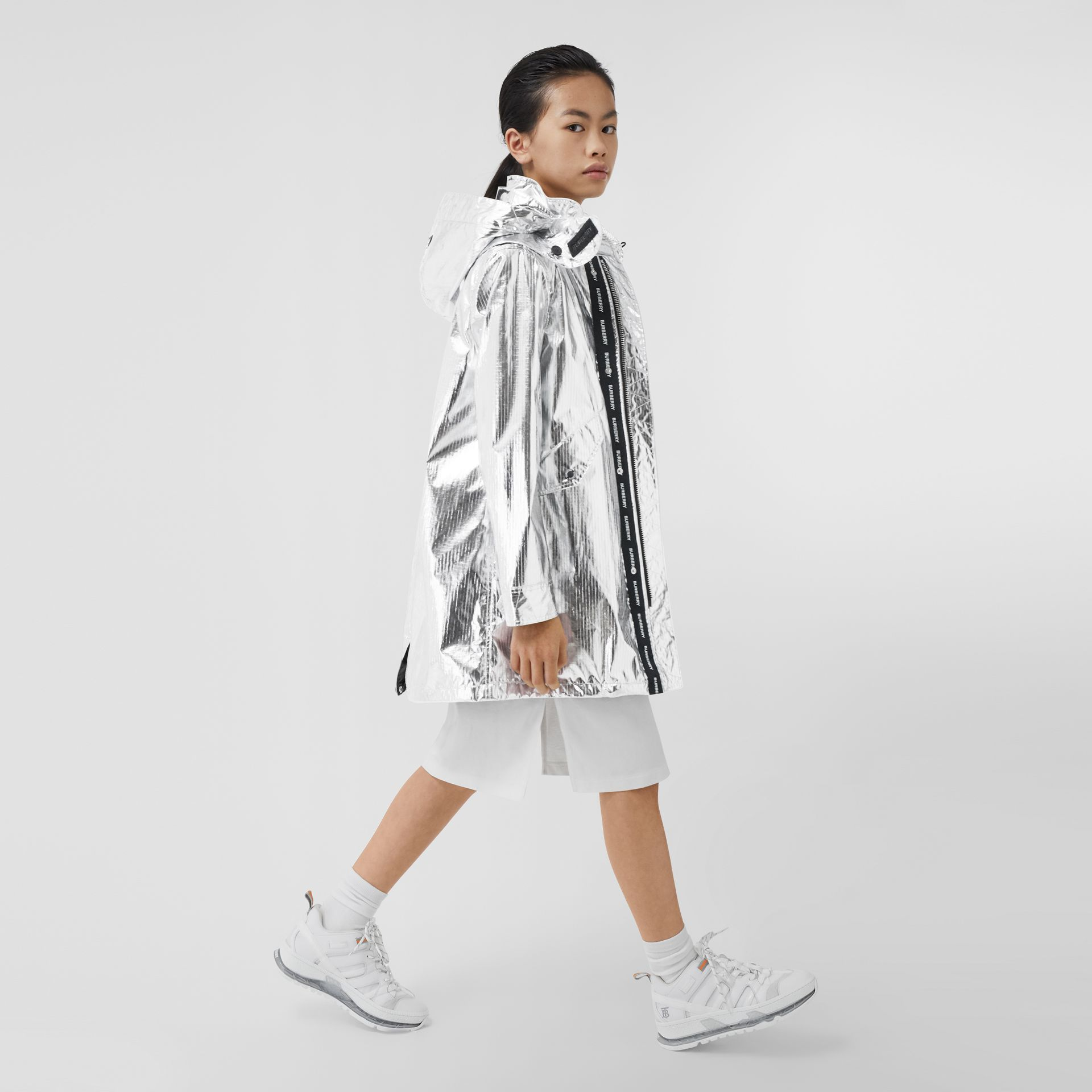 Detachable Hood Metallic Nylon Parka in Silver | Burberry - gallery image 2