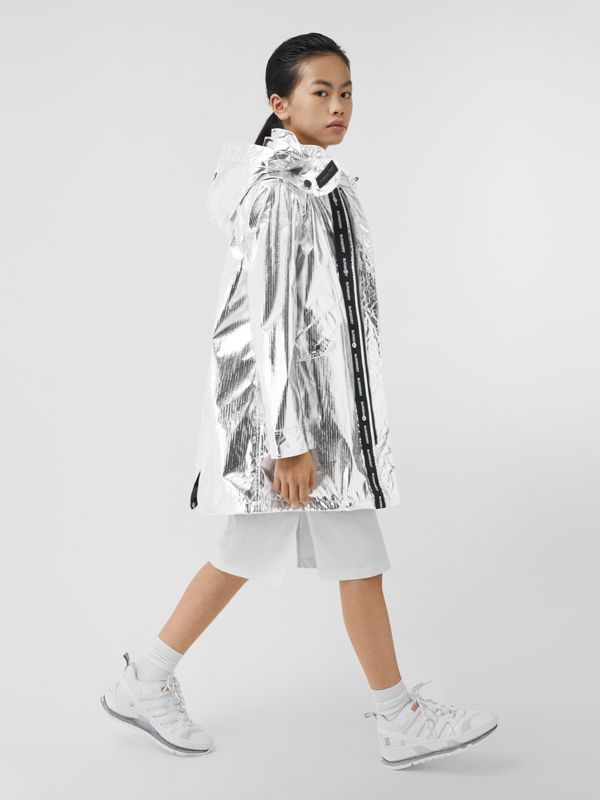 Detachable Hood Metallic Nylon Parka in Silver | Burberry - cell image 2