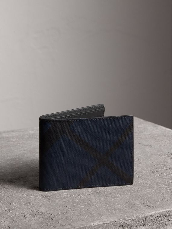 London Check and Leather Bifold Wallet in Navy/black - Men | Burberry Canada