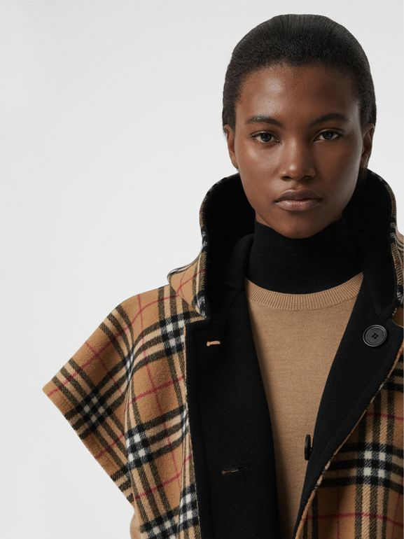 Reversible Vintage Check Hooded Poncho in Black - Women | Burberry Australia - cell image 1