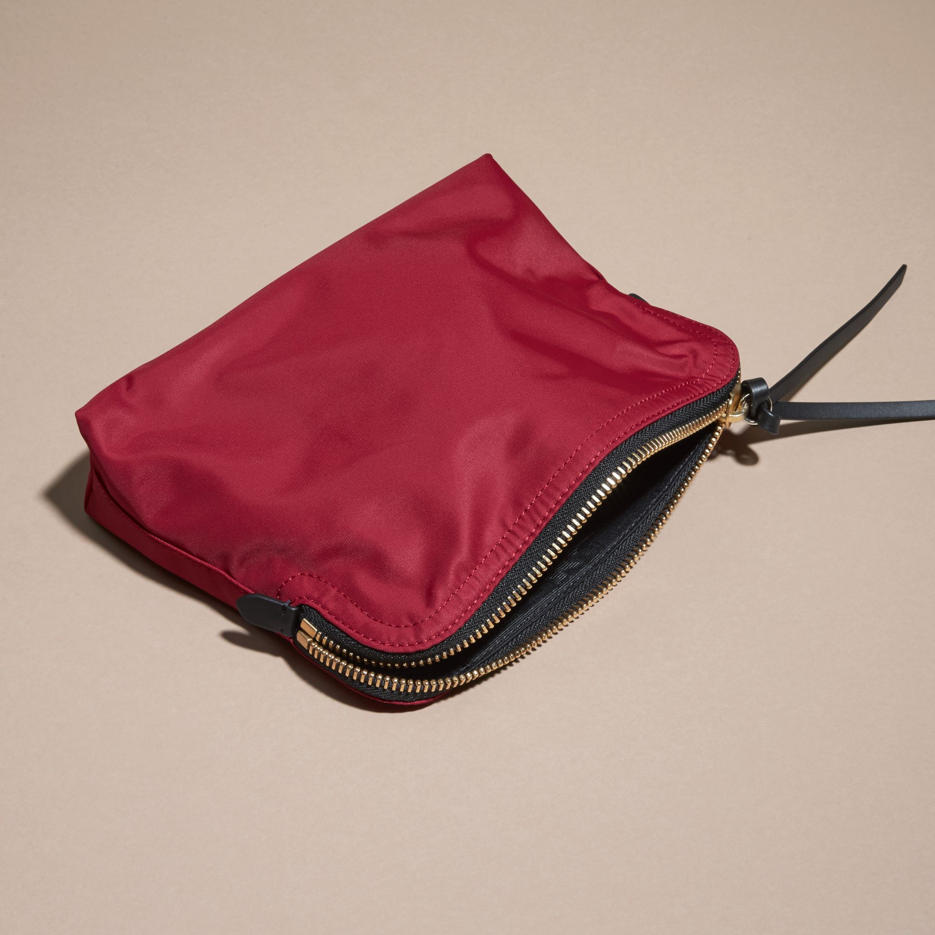 Large Zip-top Technical Nylon Pouch Parade Red - gallery image 4
