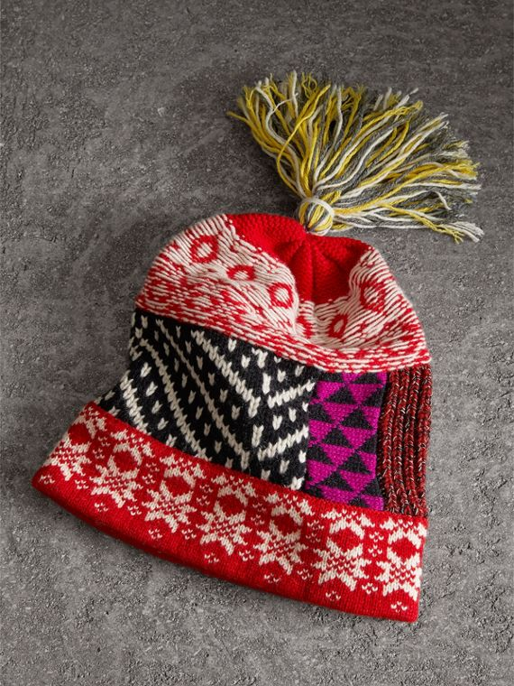 Pom-pom Wool Cashmere Patchwork Beanie in Military Red