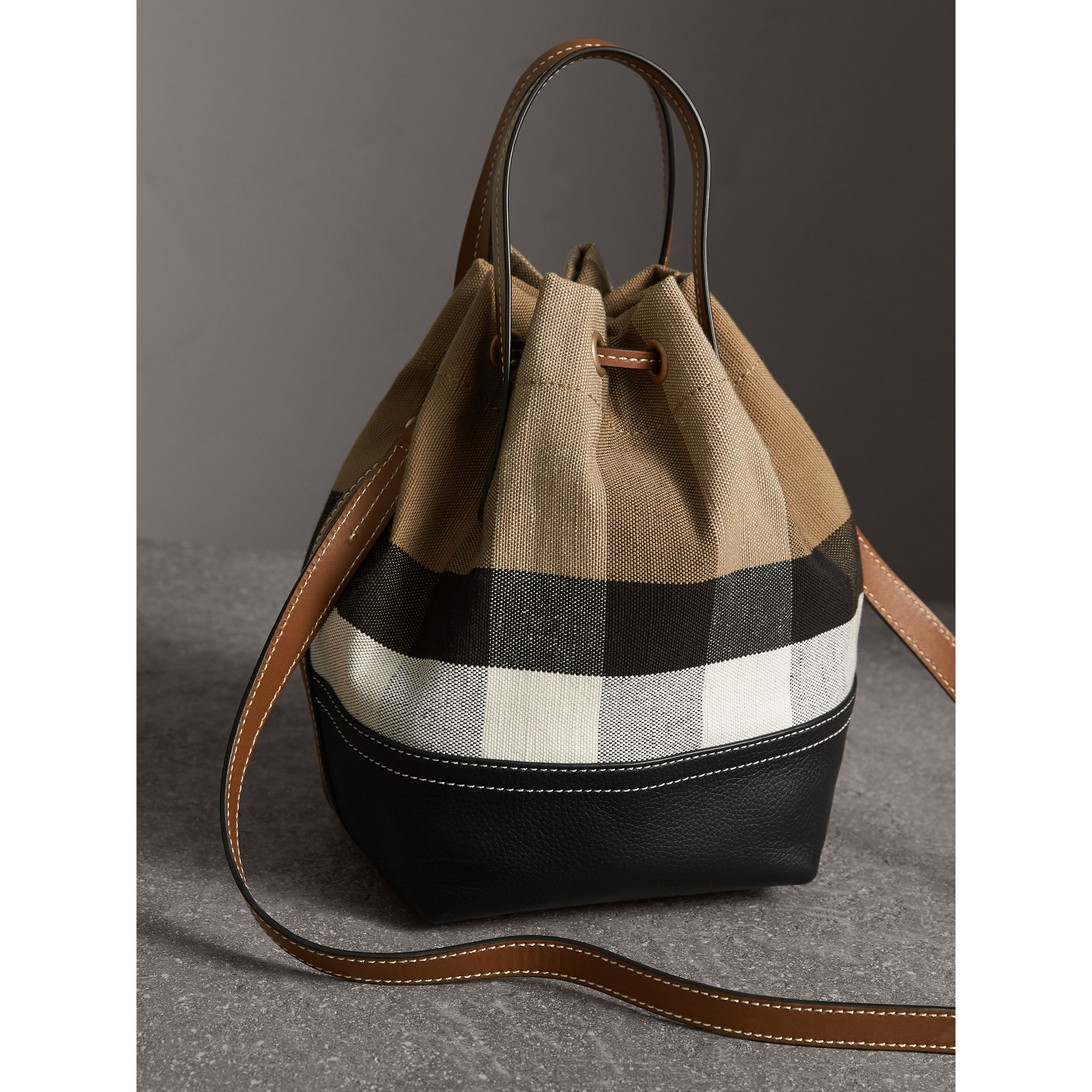 Small Canvas Check and Leather Bucket Bag in Tan - Women | Burberry - gallery image 4