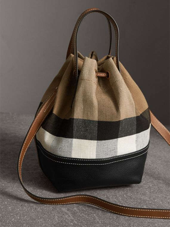 Small Canvas Check and Leather Bucket Bag in Tan - Women | Burberry - cell image 3