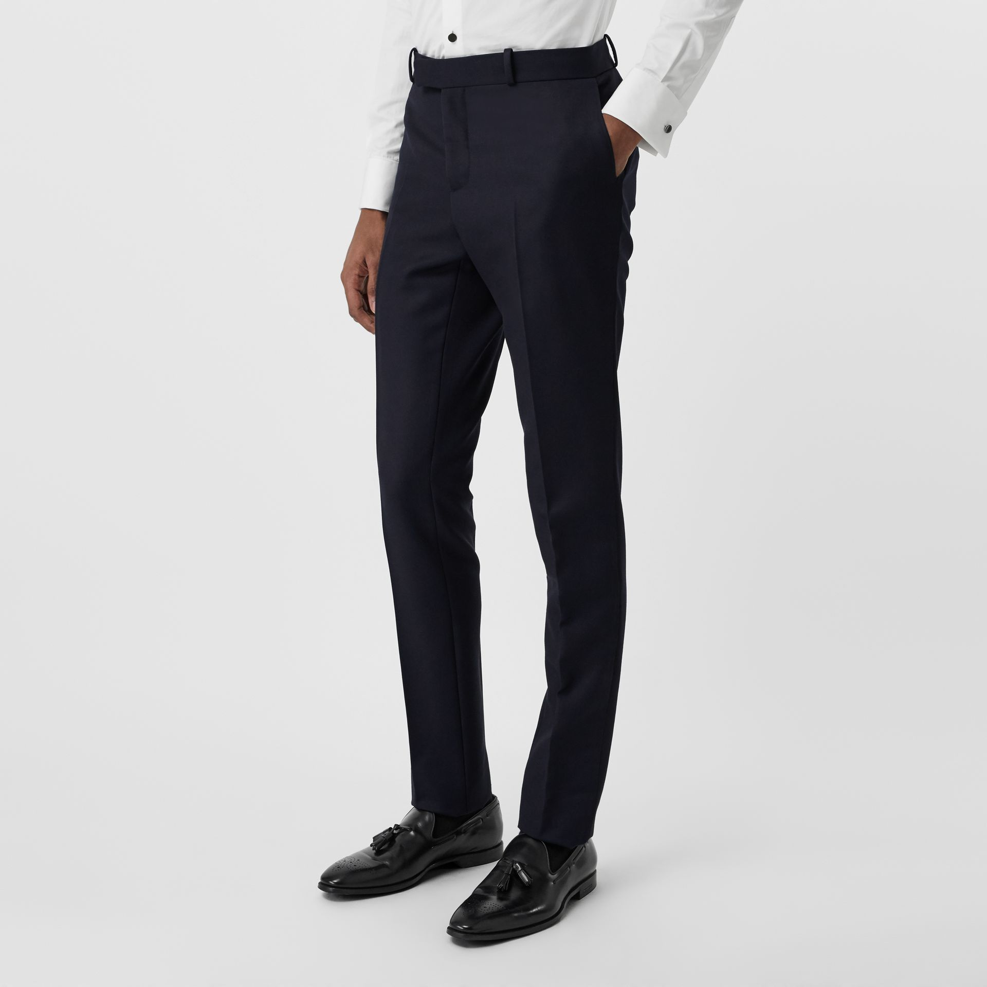 Slim Fit Wool Twill Tailored Trousers in Navy - Men | Burberry - gallery image 4
