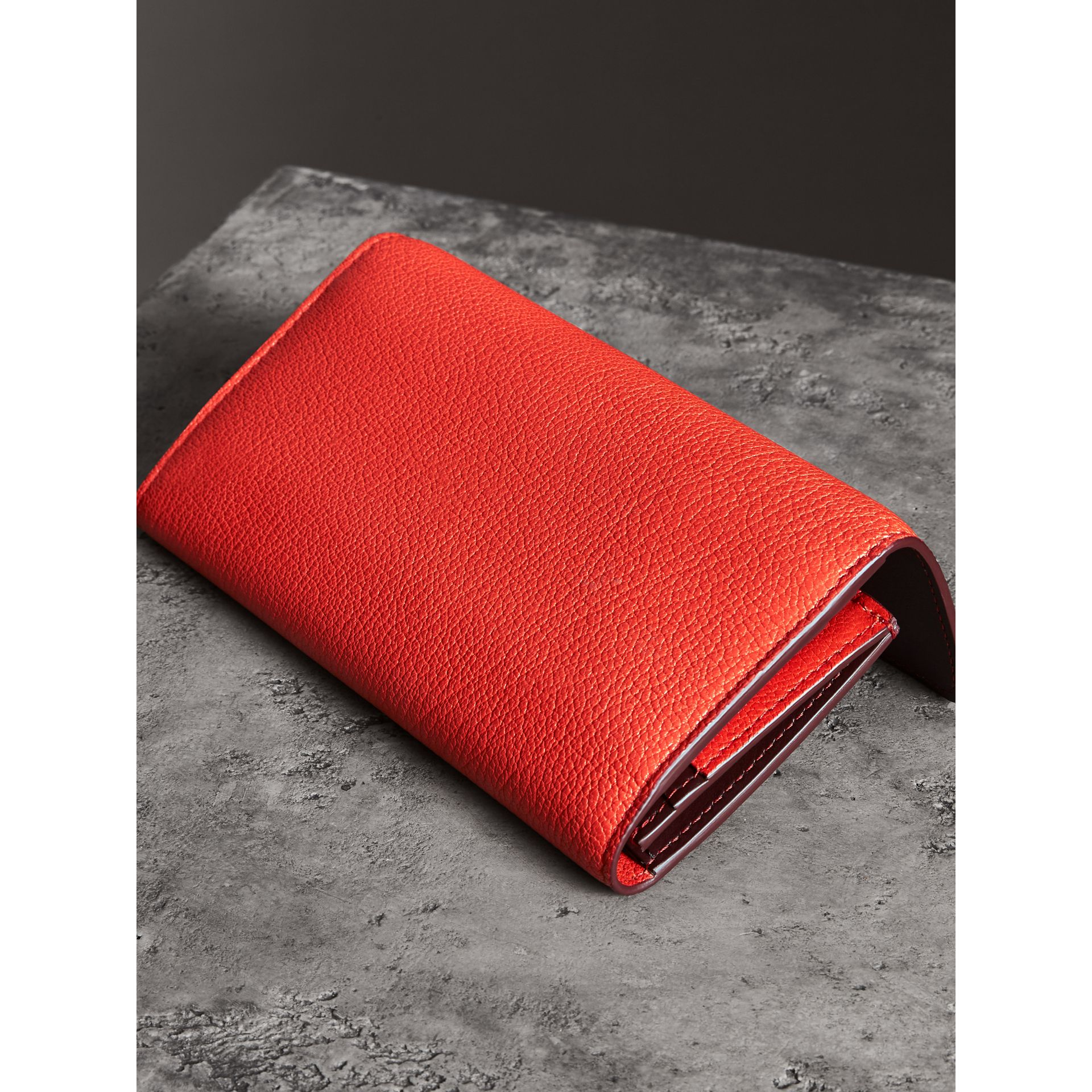 D-ring Grainy Leather Continental Wallet in Bright Red - Women | Burberry - gallery image 2