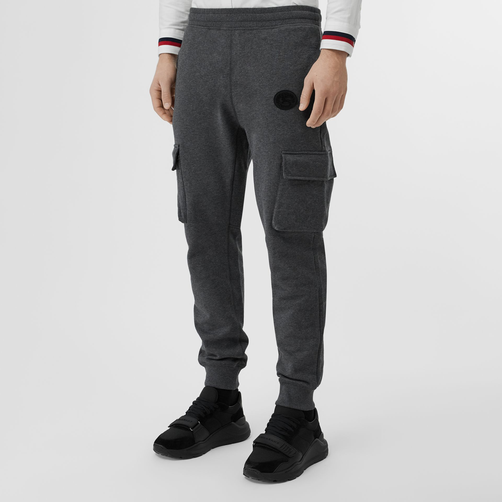 Pocket Detail Cotton Jersey Trackpants in Mid Grey Melange - Men | Burberry Canada - gallery image 4