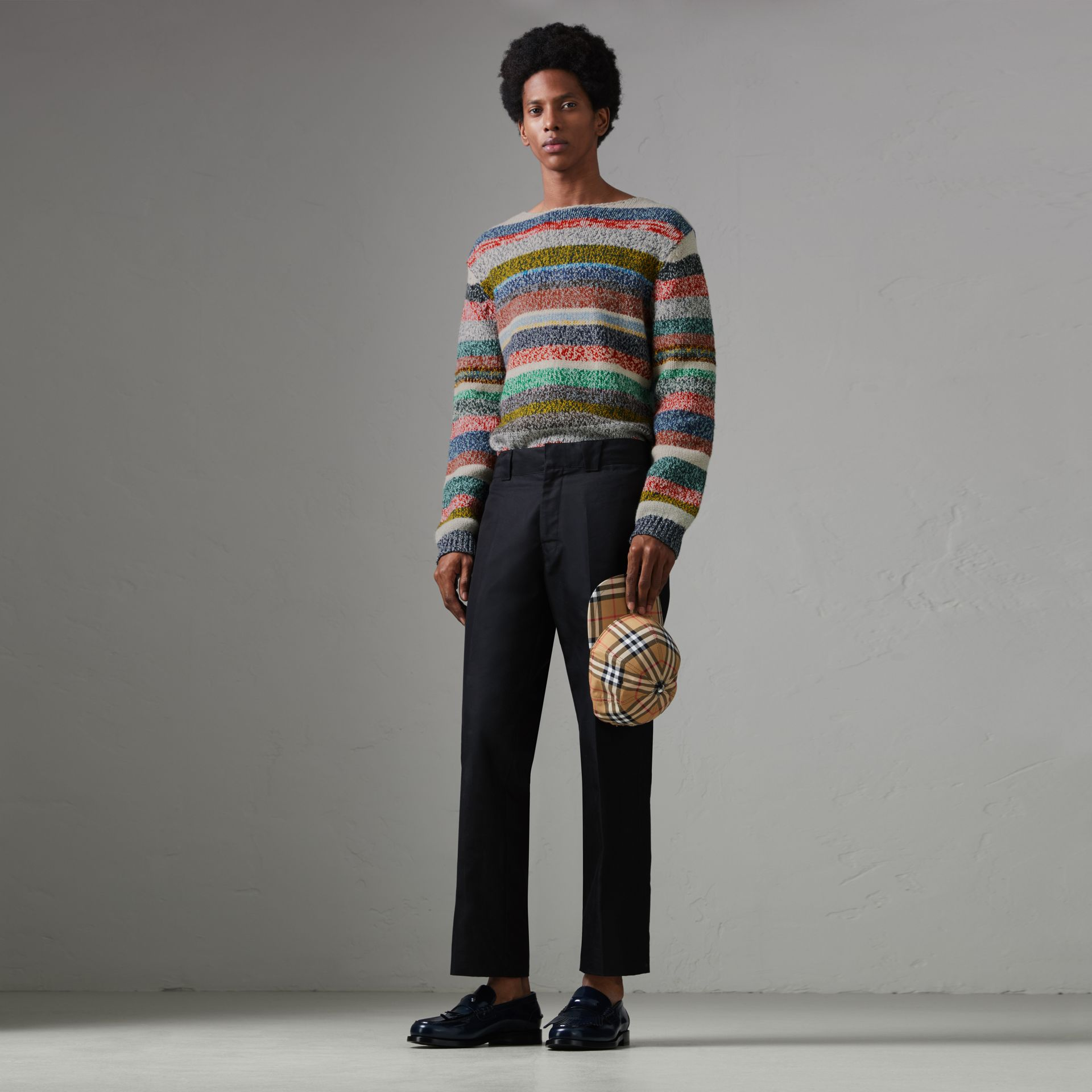 Striped Merino Wool Mouliné Sweater in Multicolour - Men | Burberry Australia - gallery image 0