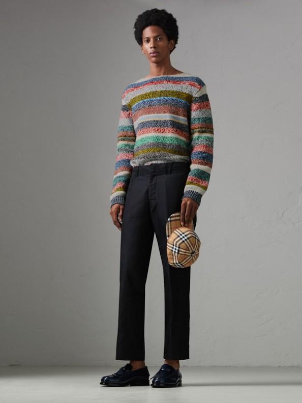 Pullover a righe in lana Merino mouliné (Multicolore)