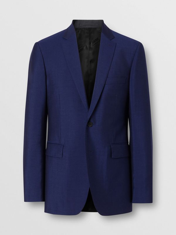 Slim Fit Wool Mohair Suit in Navy - Men | Burberry - cell image 3